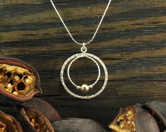 925 Sterling Silver & 14K Gold Filled multi-circle pendant and chain. Two tone large round pendant . Unique artisan design. Y496