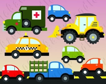 Cars Digital Clipart - Bulldozer, Military Ambulance, Taxi, Farm Truck, Mini Cars