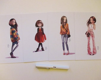 Fashion Girls Set: 4 different DIN A5 prints 15 x 21 cm from my watercolor illustrations 4 different girls