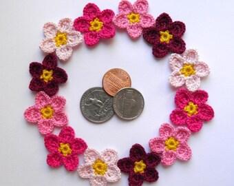 set of 12 decorative crochet flowers Gift decorations Colorful flowers Handmade flowers Embellishment