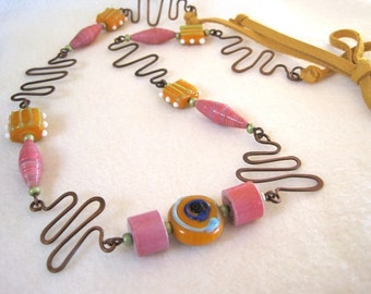 Rose Orange Paper Bead Necklace