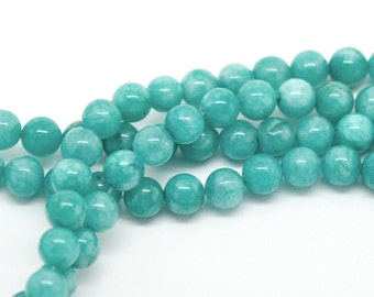 1 Strand(about 48PCs) Blue Amazonite Stone Round Loose Beads 8mm