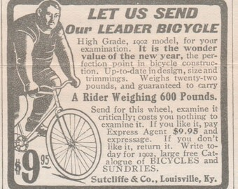 Leader Bicycle matted ad, Original Vintage Ad from 1902 Youths Companion, Unusual Matted Desk Decor ready to frame. Old bike ad