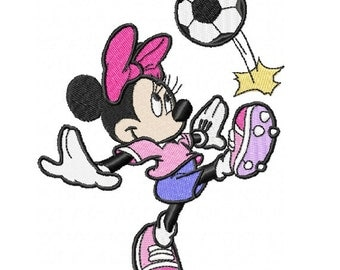 Soccer Minnie Embroidery Design in 3 Sizes - Instant Download