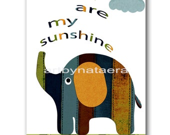 You are my sunshine Instant Download Print Playroom Art Printable Art Digital Download Elephant Nursery Art Baby Boy Nursery Art 8x10 11X14
