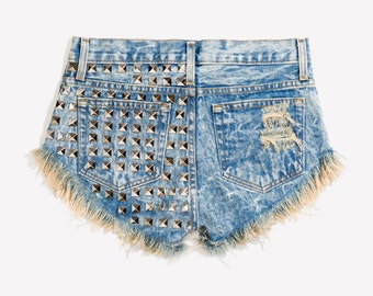 RUNWAYDREAMZ Dangers Wild West Studded Babe Cut Off Shorts