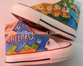 Minecraft Painted Converse Shoes Custom Converse Hand Painted Converse for kids/women/men