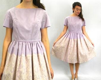 50s Lilac Chiffon Party Dress | Pale Purple & Lace | New Look Dress | Small