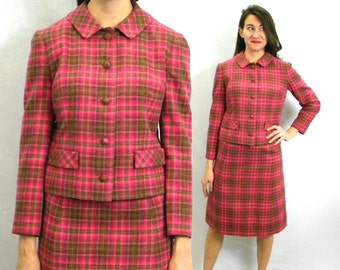 60s Pink Plaid Wool Suit |  Magenta Jacket and Pencil Skirt | Pendleton | Small