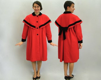 80s Long Red Wool Coat | Red Coat Black Trim | Rothschild | Medium Large
