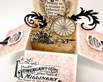 Vintage Millinery pop-up greeting card