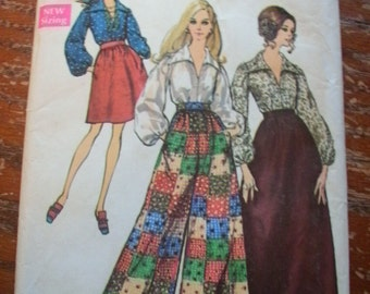Simplicity 8550 Printed Pattern ~ Size 14 Bust 36 Waist 27 ~ 1969 Misses' Skirt in Two Lengths, Pants and Blouse