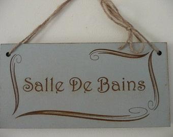 Distressed French Bathroom Sign, Salle De Bains Bathroom Sign, Art Nouveau Wall Decor, Wooden Sign