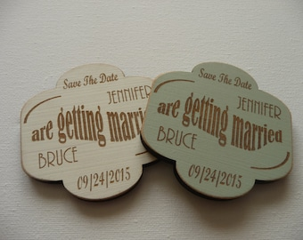 Save the Date Wedding Magnets, Personalised Save the Date Magnets, Wedding Invitation, Custom Wooden Wedding Magnets,