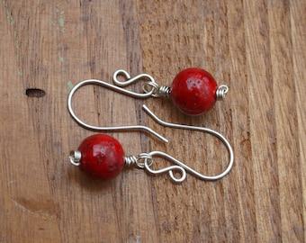 Red dangle earrings, Handmade silver filled ear wires, Gift for her, Dangely earrings