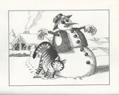 B. Kliban Cat Original Vintage Art Print Snowman Winter Decorative Wall Hanging