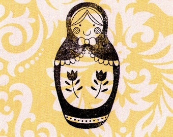 Russian Doll Stamp: Wood Mounted Rubber Stamp