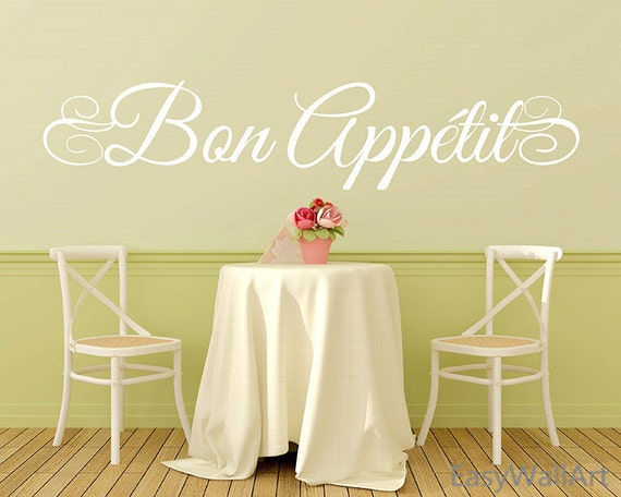 Bon Appetite Wall Decal Quote - Bon Appetit Kitchen Wall Decals Dinning Decals, Vinyl Wall Art Wall Decor,Bon Appetite Wall Quotes #Q107
