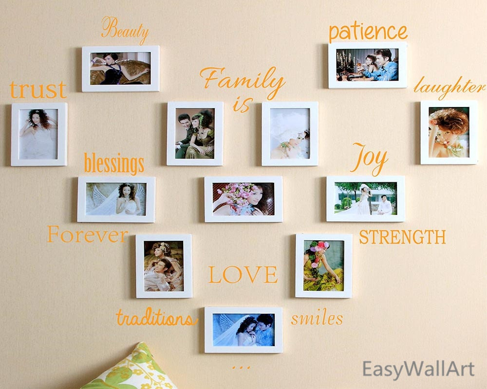 Family photo wall quotes decal for living room bedroom for Living room quote stickers