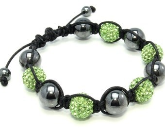 Handmade Crystal Glass Onyx Hematite Beaded Bracelet Free Shipping ! Free Gift Bag !