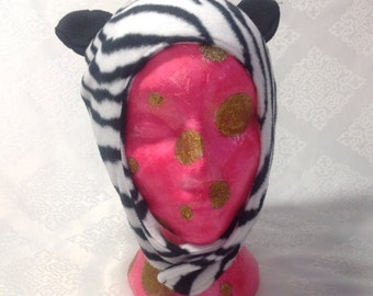 Zebra Print Fleece Toddler Hat with Chinstrap and Ears