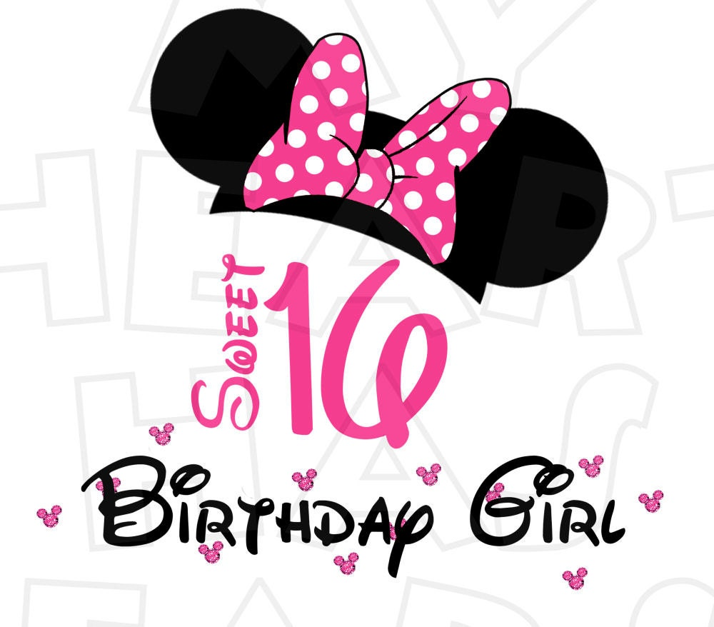 Sweet 16 Minnie Mouse Hat Ears Birthday Girl Pink Digital Iron