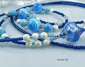 Teacher Gift, Office Gift, 32 inch Lanyard Blue White, ID Holder, Handmade, Beaded Lariat ID Holder, Free USA Shipping,Gemstone & Glass Bead
