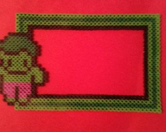 Perler bead, chibi, hulk, 4 x6 inch, picture, photo, magnetic, frame