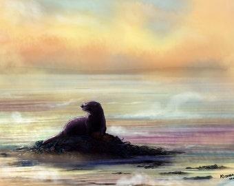 """Otter in Fog - Animal Illustration Print, Otter Illustration, Seascape Art, Nature Painting, Shetland Isles, 8x10""""/ 8x12"""" Matte Paper"""