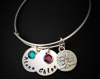 Personalized Hand Stamped Mom Bracelet-Custom Gifts for Mom, Jewelry, Adjustable Bangle Gift For Mom, Birthday Gift, mom bracelet