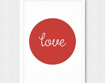 Red Love Print, Love Quote Print, Typography Wall Art, Love Art, Red Nursery Print, Wall Decor, Wall Print, Digital, Printable, Download