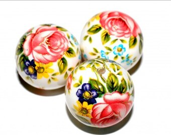 1 pc/16 mm Stunning Japanese TENSHA bead (White with flowers2)