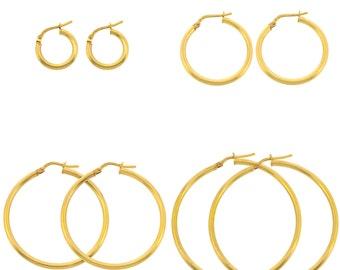 Pair of Gold Bonded Earrings - Women's Earrings - Plain Hoop Earrings