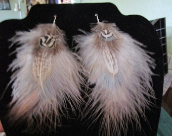 Pheasant and turkey feather earrings