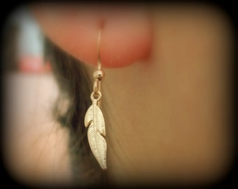 Gold Feather Earrings, Feather earrings, Tribal Earrings, Gold Filled Earrings