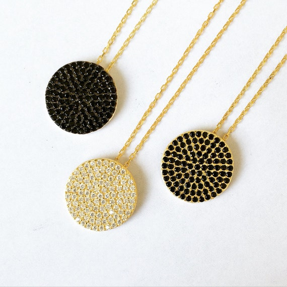 Disc Necklace, Round Pave With Cubic Zirconia, 925 Sterling Silver, A Classic Disc Necklace at a Price to Grab