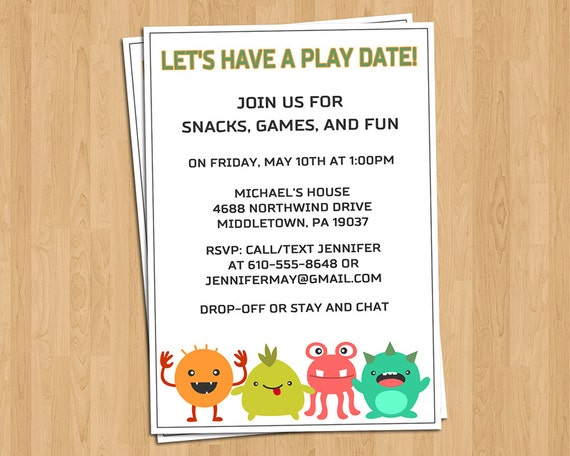 Playdate Invitation Little Monsters Play Date or by LifePlusTwo