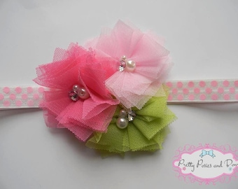 Pink Flower Headband, Hot Pink and Green Flower Headband, Baby Headband, , Photo Prop, Toddler Headband, Newborn Headband, Baby Shower Gift