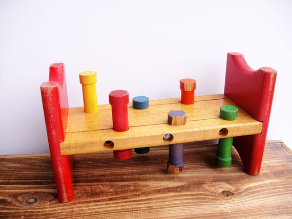 Wooden Toys Pounding Bench Playskool Vintage Baby Room