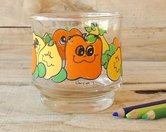 Vintage 1970s Smiling Fruit Juice Glass, Nancy Lynn Glass, Vintage Glassware, Juice Glass, Fruit Cup, Kitch Juice Glass, Retro Juice Cup