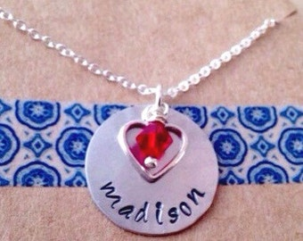Name Necklace with Birthstone and Heart Charm