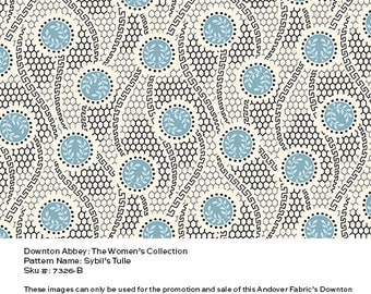 Downton Abbey Fabric - Sybil's Tulle in Blue