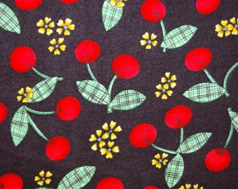 Cherry Jubilee Flannel - Cherries on Black Fabric