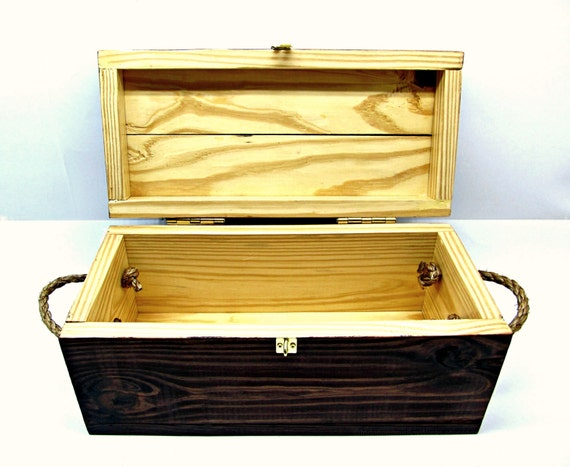 Rustic wooden gift box with rope handles by