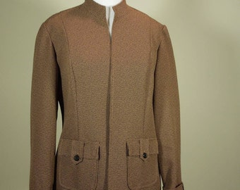 SALE!  Vintage Perceptions Petite Jacket. Size 6P. Open Front. Stand Up Collar. Brown & Black Tiny Tweed.