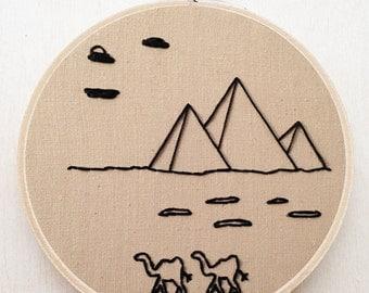 Egyptian Pyramid Landscape Hand Embroidery Egypt Middle East Fiber Art Minimalist Embroidery Landscape Embroidery Decor Camel Animal Art