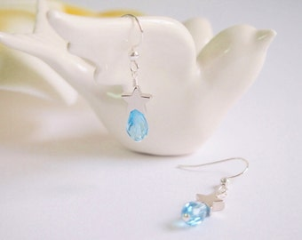 Swarovski Aquamarine Crystal Silver Earring with Star, Sterling Silver Earring,