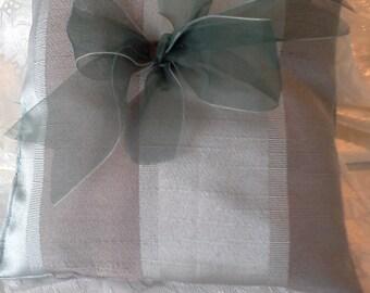 Sage green Wedding ring pillow green ribbon