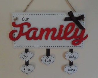 Wooden Personalised Family Plaque