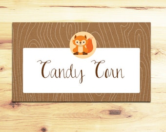 Adorable Woodland Animal Food Tents - Party Labels - Baby Shower Decor - Birthday Party Decor - Fox and Squirrel Woodland Part Decor